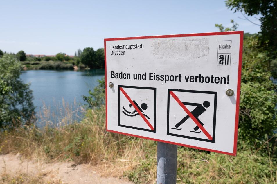 Baden ist an der Kiesgrube Leuben verboten, nicht alle halten sich dran. Auch hier kamen schon Menschen ums Leben.