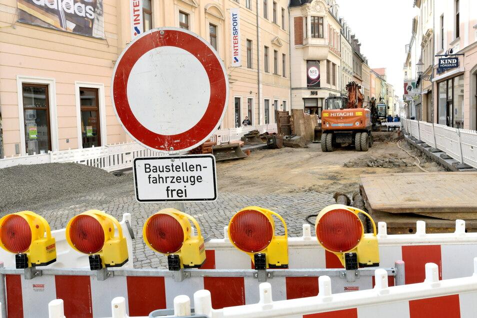 Die Innere Weberstraße in Zittau wird noch bis Oktober ausgebaut.