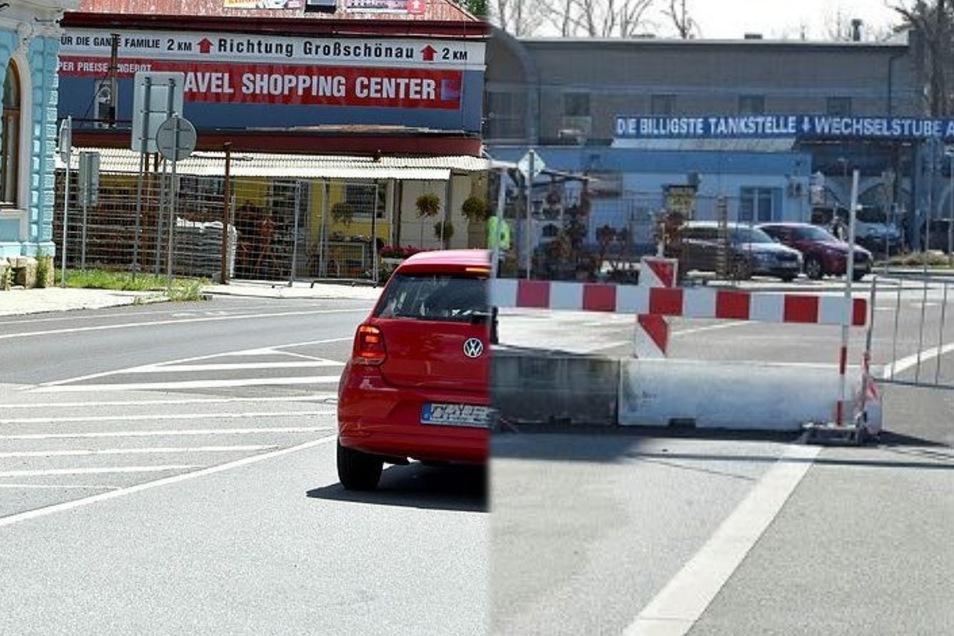 Vorige Woche (links) war die Grenze zwischen Seifhennersdorf und Varnsdorf noch verbarrikadiert, diese Woche sind die Absperrungen verschwunden.