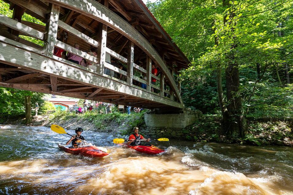 Mit einer Extra-Wassergabe aus der Talsperre Malter ist die Rote Weißeritz am Sonntag zum Sportgewässer geworden.