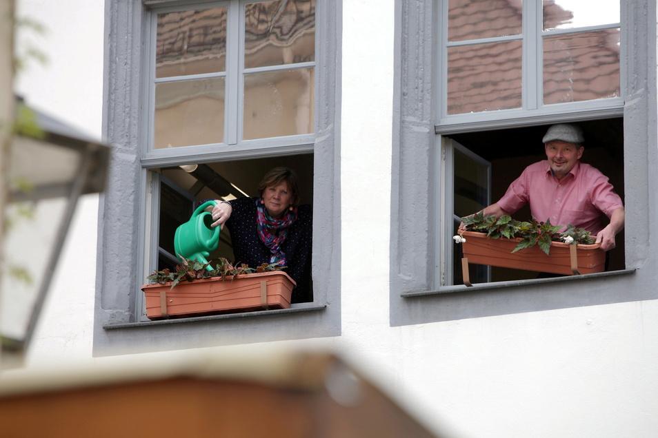 Blühende Lese-Landschaften: Alf Wild (r.) hat der Pirnaer Bücherei fertig bepflanzte Blumenkästen spendiert, von Bibliothekarin Viola Marzahn (l.) gibt's einen ordentlichen Schuss Wasser.