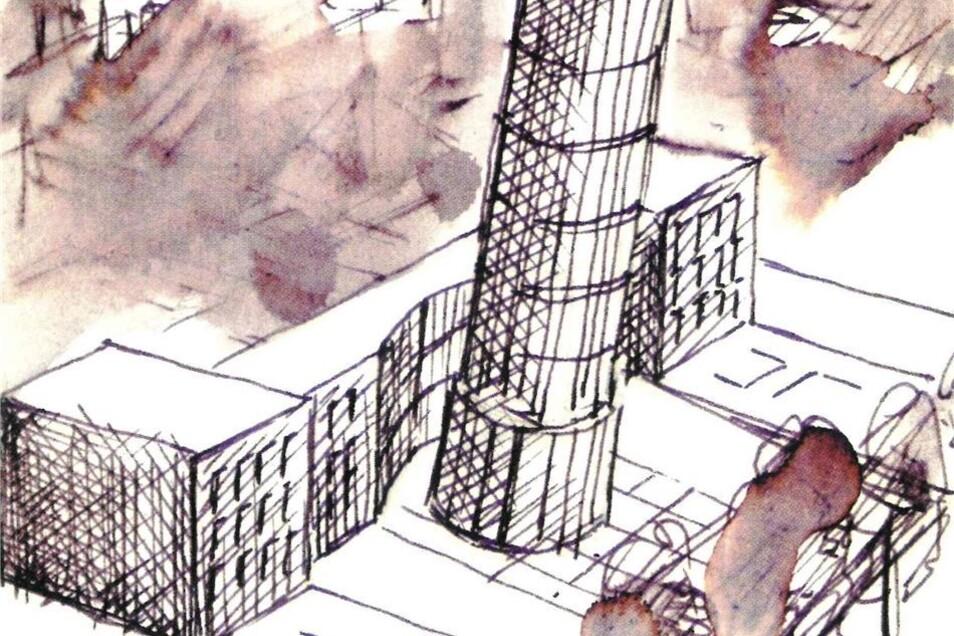 Der schiefe Turm stammt aus der Feder des renommierten Malers und Grafikers Wolfgang Nieblich aus Berlin.