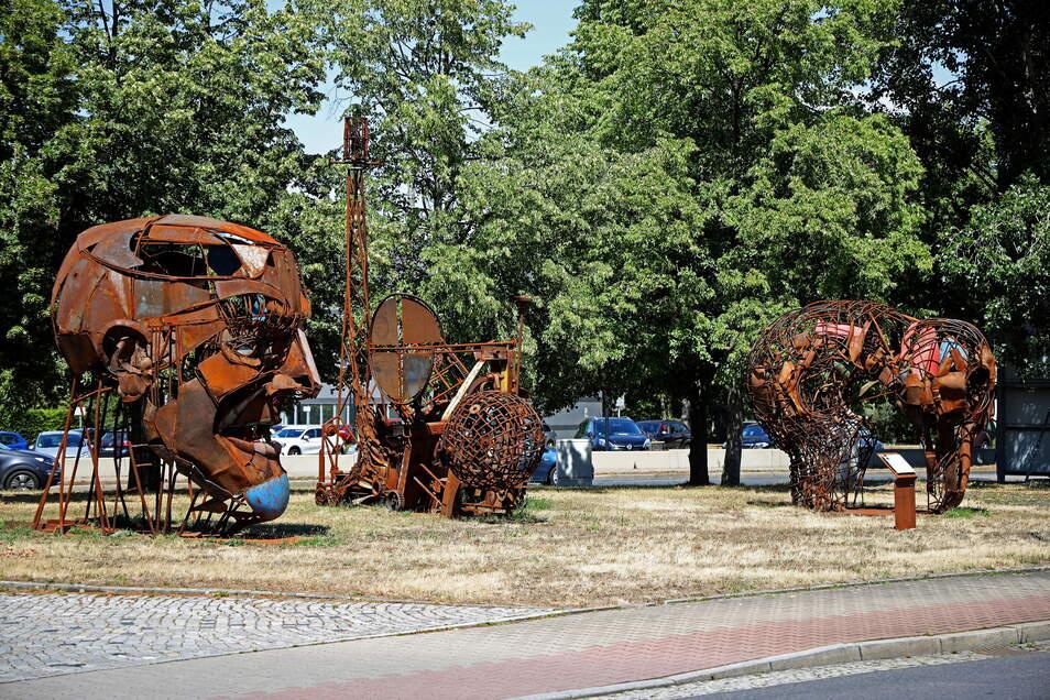 Diese Skulpturen an der Lauchhammerstraße entstanden beim ersten Metallbildhauer-Symposium in Riesa. Nun ist die zweite Auflage geplant.