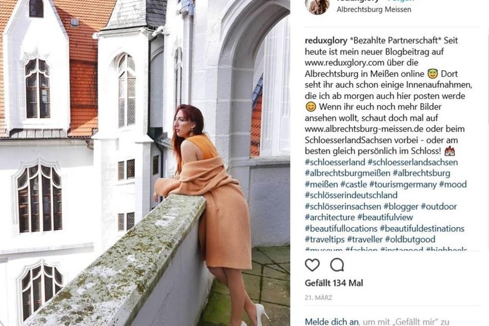 So präsentiert sich Raffaela Gohr am Ende im Internet: Aus dem Besuch auf der Albrechtsburg ist ein Artikel mit ein paar schicken Fotos geworden, der auch im sozialen Netzwerk Instagram (siehe Foto) beworben wird.