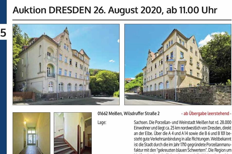 Mit dieser Anzeige wurde im Katalog der Sächsischen Grundstücksauktionen für die Versteigerung einer überteuerten Meißner Schrottimmobilie im August in Dresden geworben.