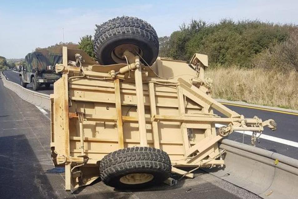 So sah es im September 2018 bei einem Unfall mit US-Militär auf der Autobahn A 4 aus.