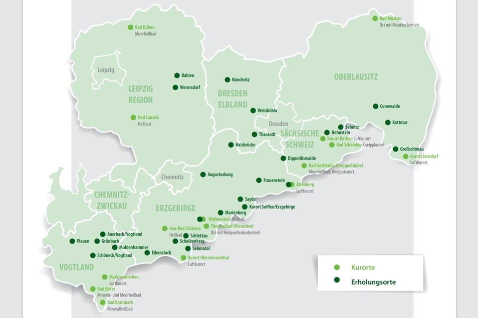Übersicht über staatlich anerkannte Kur- und Erholungsorte im Freistaat Sachsen (Stand: Juni 2021). Diesbar-Seußlitz wird in dieser Zeichnung unter dem Gemeindenamen Nünchritz geführt.