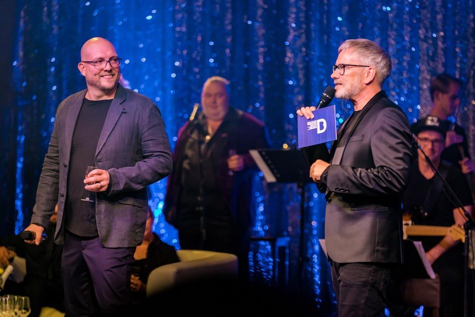 Theaterleiter Marten Ernst (links) und Olaf Becker - hier bei der Gala anlässlich 5 Jahre Boulevardtheater Dresden.