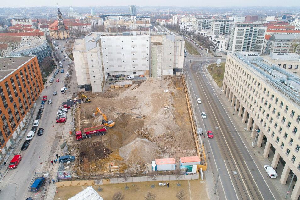Dieses Foto zeigt die Fläche der künftigen Mary-Ann-Apartments kurz nach dem Baubeginn Anfang 2019