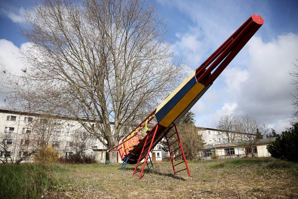 Das Gelände des ehemaligen Zeithainer Kindergartens si verwaist.