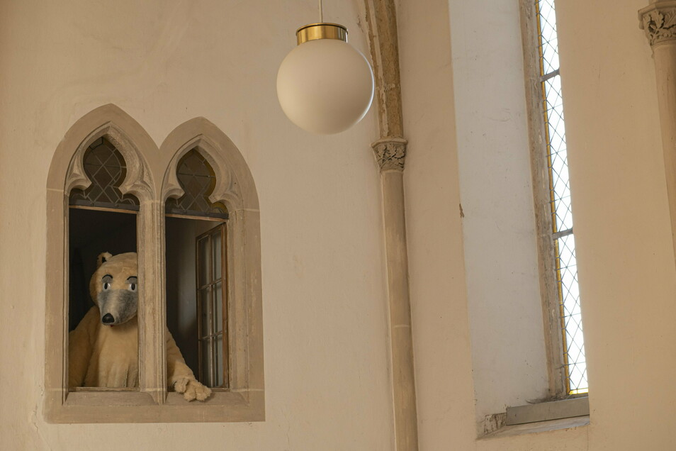 """Na wer schaut denn da hervor: Der freundliche Eisbär, bekannt durch das Projekt """"Bärenstark"""" hat in der Wantewitzer Kirche sein Winterquartier bezogen."""