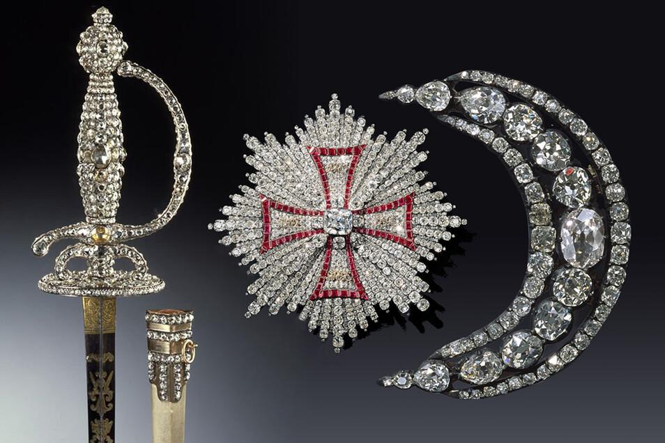 Diese Schmuckstücke wurden neben anderen aus dem Juwelenzimmer gestohlen (v. l.): Degen mit Scheide (Diamantrosengarnitur), zwischen 1782 und 1789 hergestellt; Bruststern des polnischen Weißen Adler-Ordens (Brillantgarnitur), zwischen 1746 und 1749;Aigre