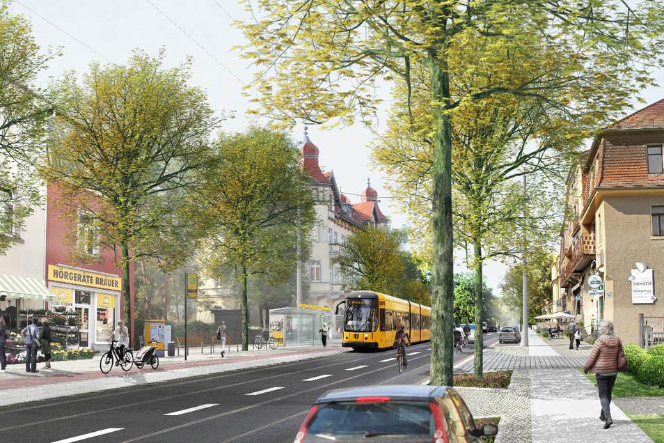 So könnte es werden: Blick von der Prof.-von-Finck-Straße in Richtung Stadtzentrum.