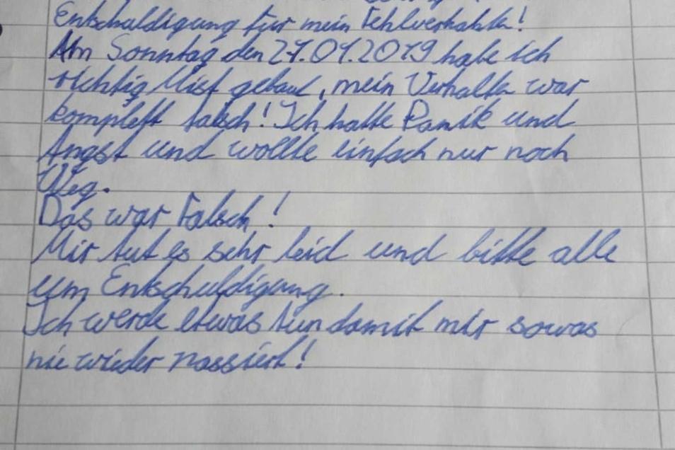 Der Brief von Karl M. an die Polizei.