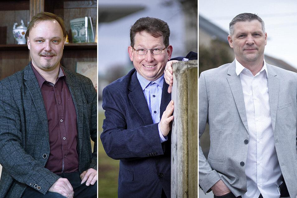 Carsten Rybicki (AfD), René Edelmann (parteilos) und Rico Pfeiffer (parteilos, v.li.) sind die Bürgermeisterkandidaten in Ottendorf-Okrilla.