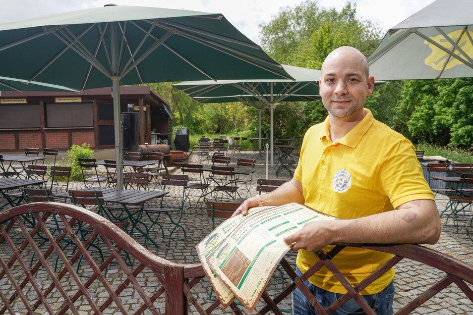 Der Biergarten der Spreepension in Bautzen ist ab sofort wieder täglich geöffnet - mit dem vollen Angebot, wie Inhaber Tobias Frenzel versichert.