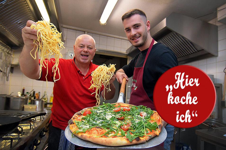 Haben trotz der Corona-Krise noch Spaß am Zubereiten von leckerer Pasta und Pizza: Al Dente-Chef Giuseppe Belladini (links) und sein Sohn Fabricio.
