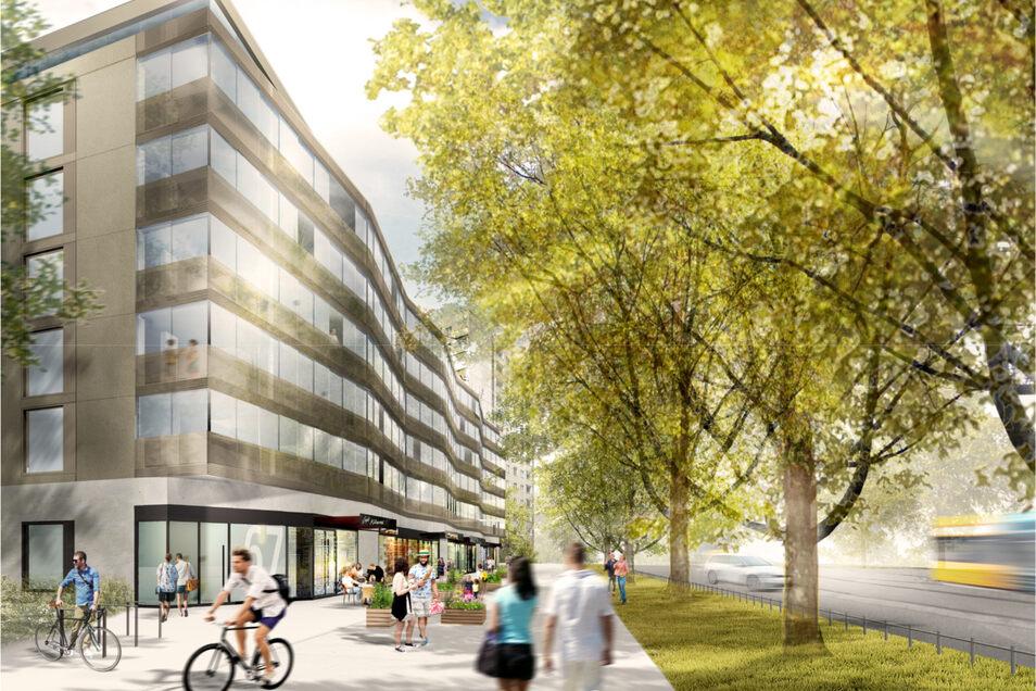 So soll der Neubau an der Fetscherstraße in Dresden aussehen.