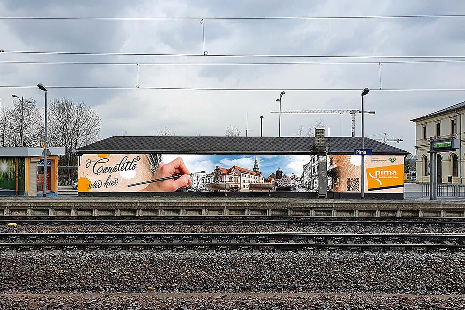 Mit diesem Wandbild werden künftig Bahnreisende in Pirna begrüßt.