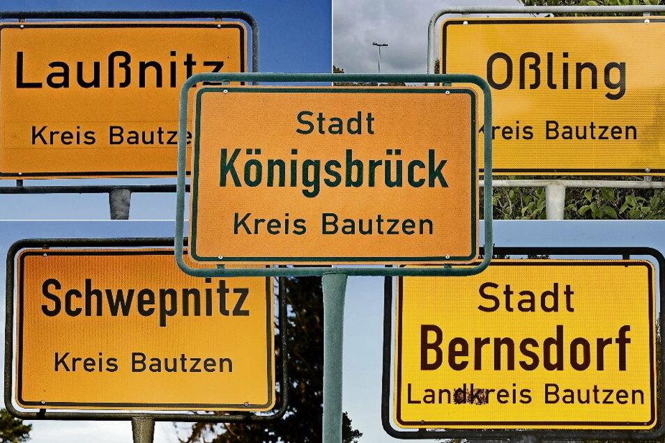 Sie arbeiten künftig enger zusammen: Laußnitz, Schwepnitz, Königsbrück, Oßling und Bernsdorf.
