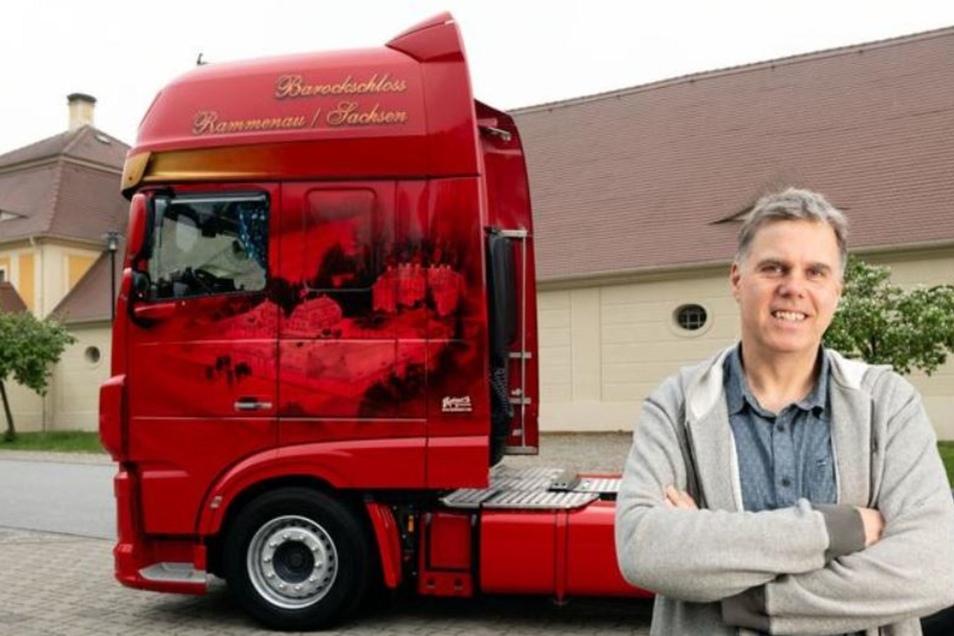 Für seinen Rammenauer Fahrer ließ Firmenchef Michael Hoop (Foto) Motive vom Barockschloss auf den Truck lackieren.