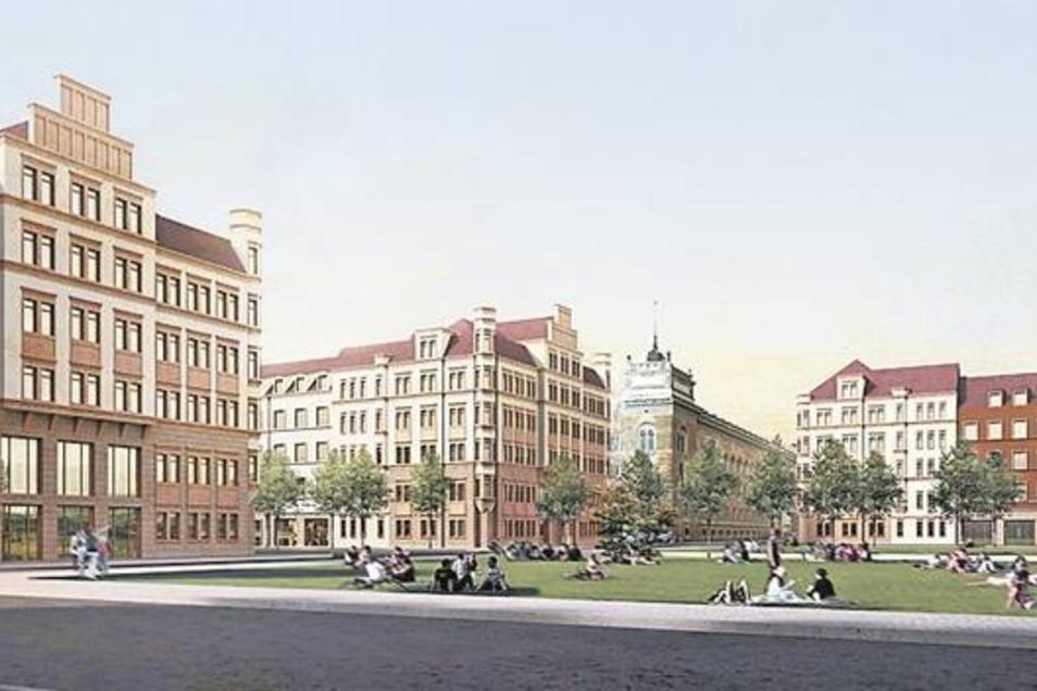 Von der einstigen Schönheit des Sachsenplatzes ist heute nicht mehr viel übrig. So könnte ein angemessener Rahmen für das Amtsgericht (Bildmitte) aussehen.