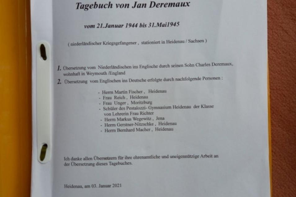 496 Tage auf 163 Seiten in einem orangen Schnellhefter: das Heidenauer Tagebuch von Jan Deremaux.