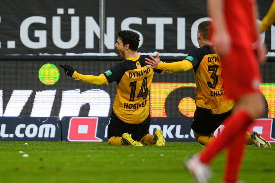 Dynamo bester Mann feiert seinen 4:3-Siegtreffer. Philipp Hosiner erzielte gegen Kaiserslautern seine Saisontreffer sieben und acht.