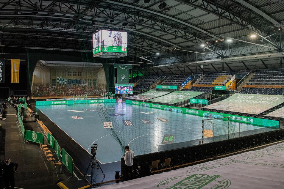 Die Arena in Leipzig ist noch leer, doch beim Heimspiel der DHfK-Handballer am 27. Mai gegen Kiel sollen erstmals wieder Zuschauer dabei sein dürfen.