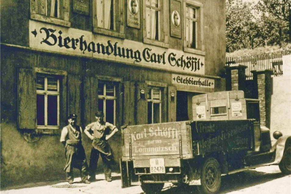 Aufnahme aus der 20er Jahren des vorigen Jahrhunderts. Kurz zuvor war das Bier noch mit Pferdekutschen ausgefahren worden.