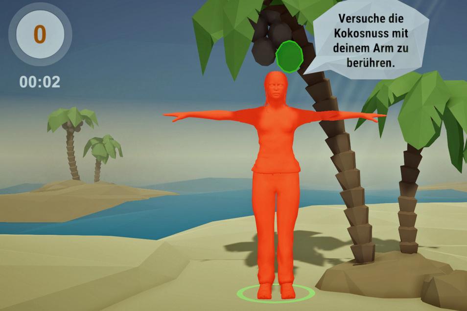 Die Dame in Rot ist die Trainerin in der Testversion des neuen Spiels. Sie erklärt die Übungen. Ziel: durch eigene Bewegungen vor dem Computer, im Spiel die Kokosnüsse zu treffen.