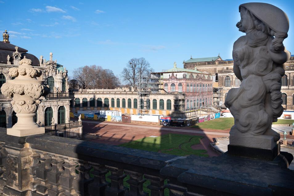 Die Bogengalerie L zwischen dem Französischen und dem Wallpavillon wurde für die neue Zwinger-Ausstellung ausgebaut.