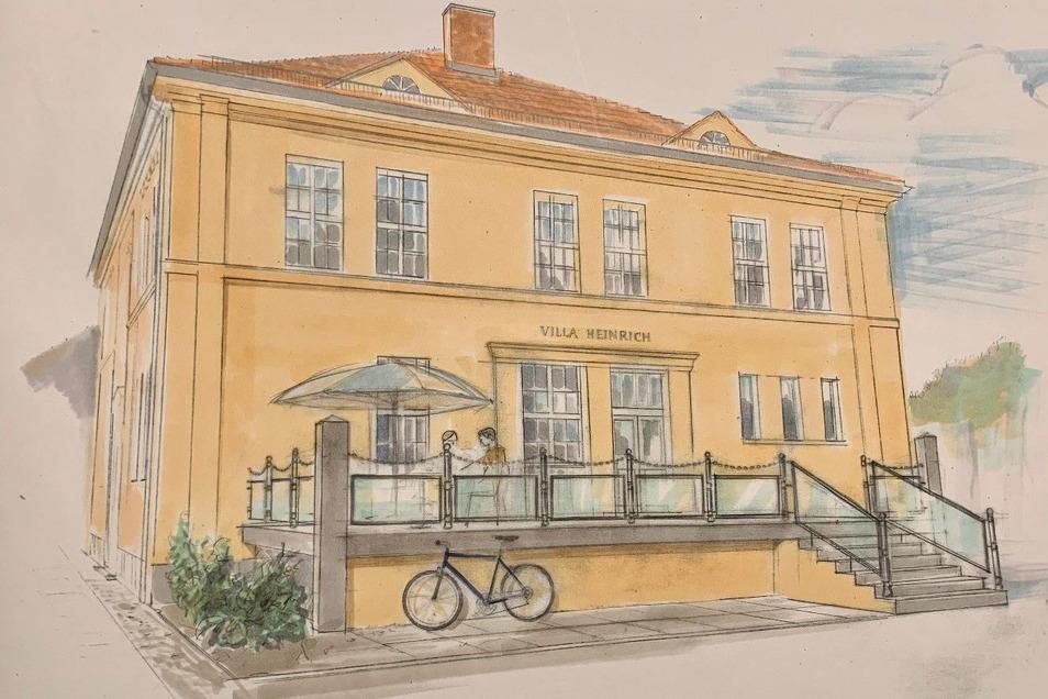 """Die östliche Seitenansicht der Villa """"Heinrichwerk"""" mit dem geplanten Terrassenanbau."""