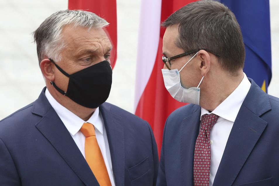 Mateusz Morawiecki (r), Premierminister von Polen und Viktor Orban, Premierminister von Ungarn: Eine Mehrheit der EU-Staaten hat ein Verfahren zur Bestrafung von Verstößen gegen die Rechtsstaatlichkeit innerhalb der Union auf den Weg gebracht.
