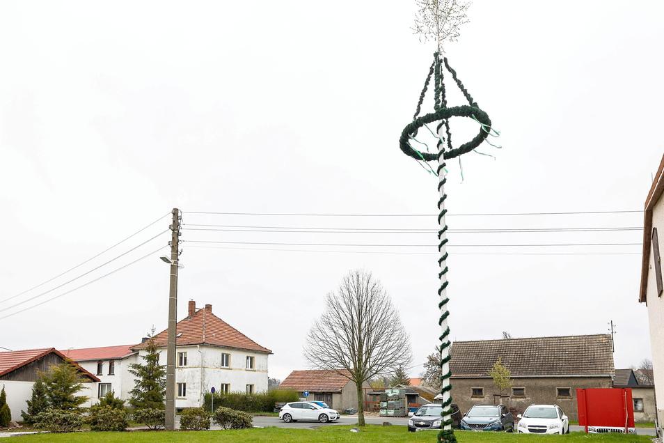 Der Maibaum in der Nähe des Lokschuppens in Mohorn.