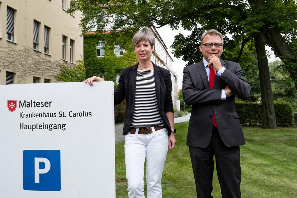 Standortleiterin Daniela Kleeberg und Sven Heise, Geschäftsführer der Malteser Sachsen-Brandenburg gGmbH, wollen das St. Carolus in eine sichere Zukunft führen.