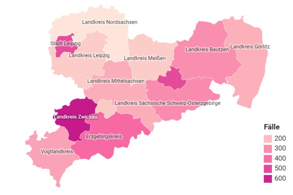 Unsere Karten zeigen die wichtigsten Daten zum Coronavirus in Sachsen.