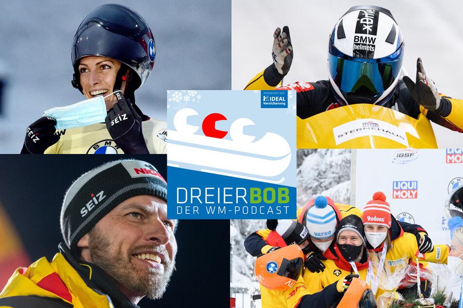 Die Österreicherin Janine Flock (oben links), Bob-Pilotin Stephanie Schneider (oben rechts), Bob-Bundestrainer René Spies und die erfolgreichen deutschen Skeletoni sprechen im Dreierbob.