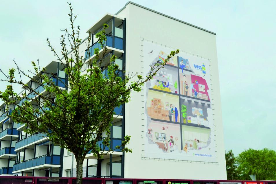 Ungewöhnlich gestaltet hat die Wohnungsgesellschaft Nünchritz den kürzlich sanierten Block am Karl-Liebknecht-Ring.