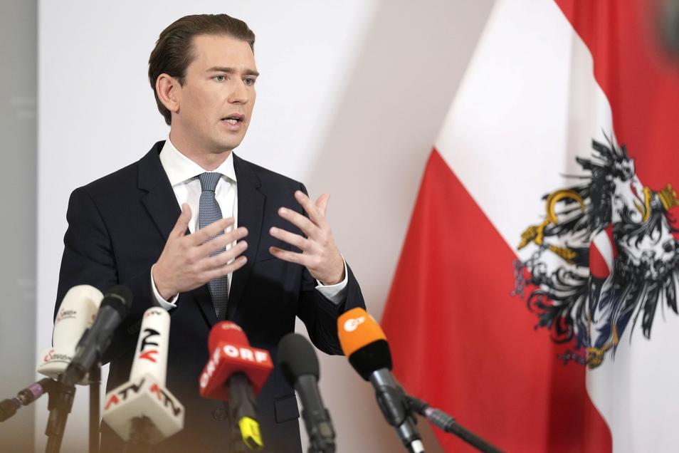 Sebastian Kurz (ÖVP), Bundeskanzler von Österreich, spricht bei einem Statement zur Regierungskrise im Bundeskanzleramt.