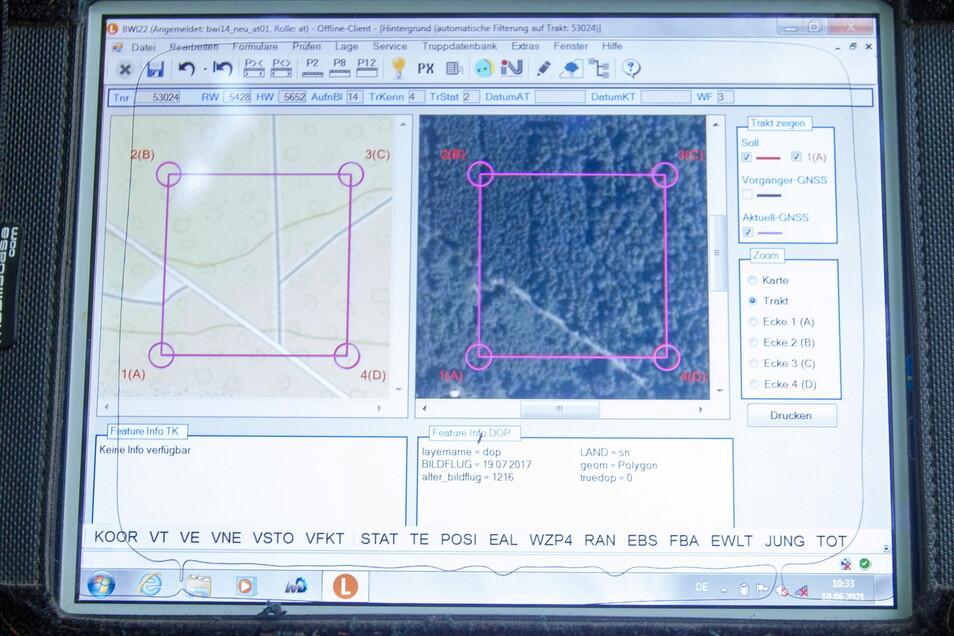 Die Zähl- und Messwerte werden gleich im Wald in den Computer eingegeben und später von Sachsenforst ausgewertet.