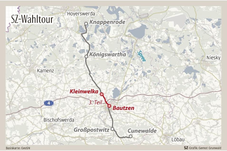 Der dritte Tag der SZ-Wahltour führte die Reporterinnen nach Bautzen. Einen Zwischenstopp legten sie an der A 4 in Salzenforst ein.