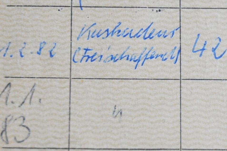 Auszug aus Jürgen Scheibes Sozialversicherungsausweis.