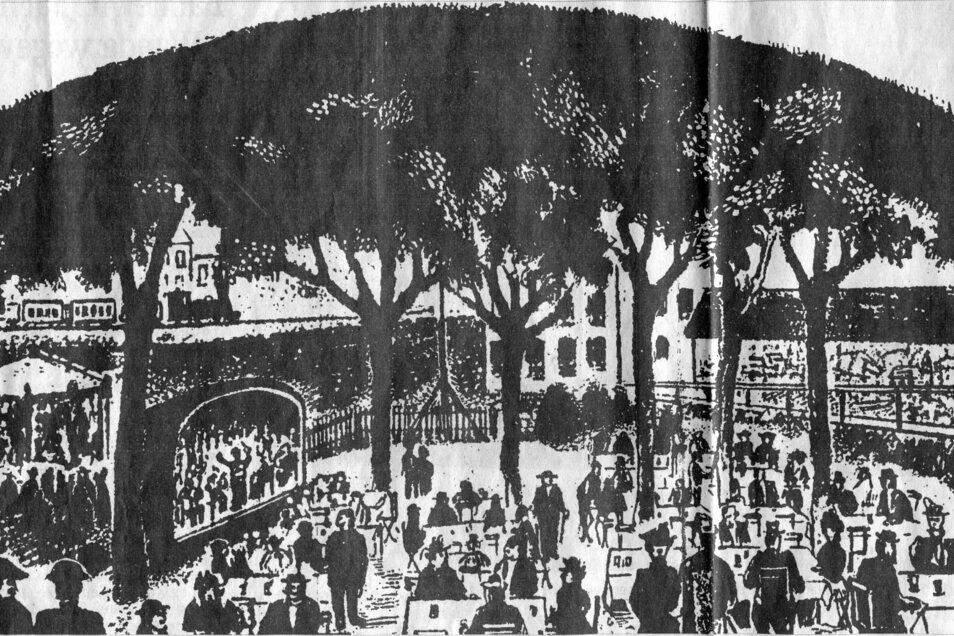 """Im Garten der Döhlener """"Roten Schänke"""" (heute Standort Stadtkulturhaus) fand das erste Chorkonzert im Plauenschen Grund mit großem Erfolg statt. Unsere Abbildung: Ausschnitt aus einer lithographischen Ansichtskarte von 1880. Eine idyllische Anlage,"""