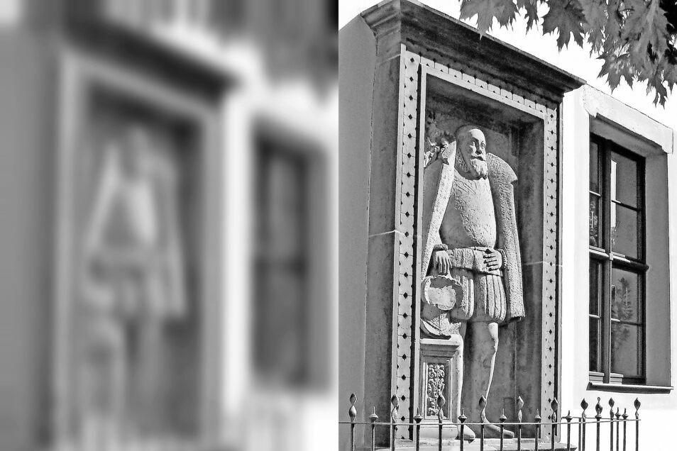 Das am Zittauer Alten Gymnasium 1838 eingemauerte Grabmal von Nikolaus von Dornspach. Ab 1549 Bürgermeister, erwies er sich als hervorragender Verhandlungsführer beim Rückkauf der einstigen städtischen Besitztümer.