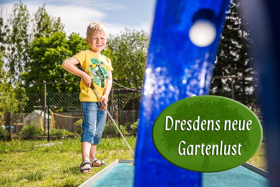 Wenn die Kleingartenanlage zum Kinderparadies wird: Franz spielt gern Minigolf.