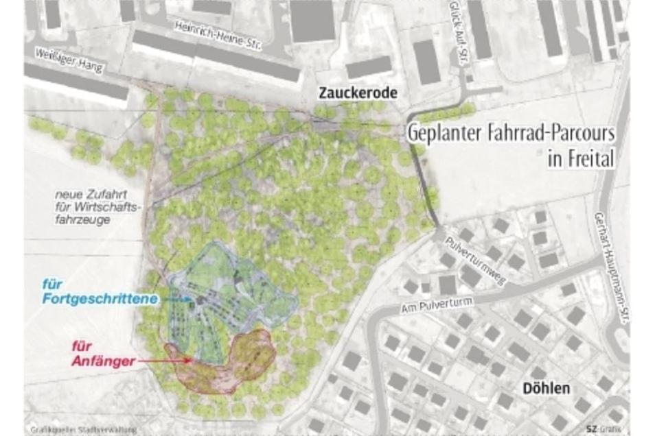 Geplanter Fahrrad-Parcours in Freital.