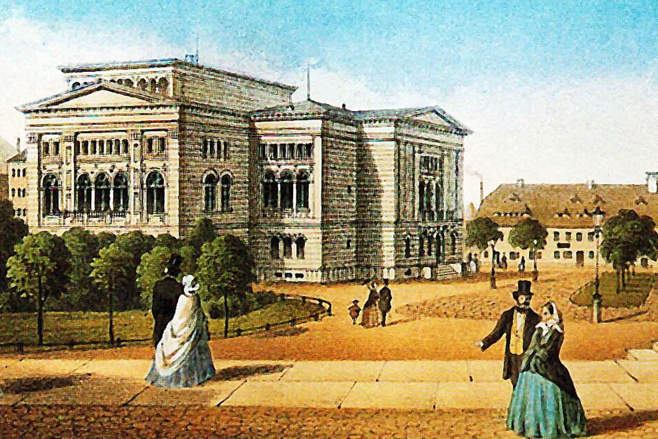 In Görlitz bot das neue Stadttheater einen prächtigen Anblick. Diese Farblithografie entstand um 1865. Später wurde es nochmals umgebaut.