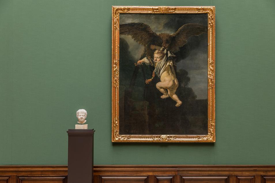 """Rembrandts """"Ganymed in den Fängen des Adlers"""" von 1635 hängt neben Henrick de Keysers """"Weinendem Kind"""" von 1615."""