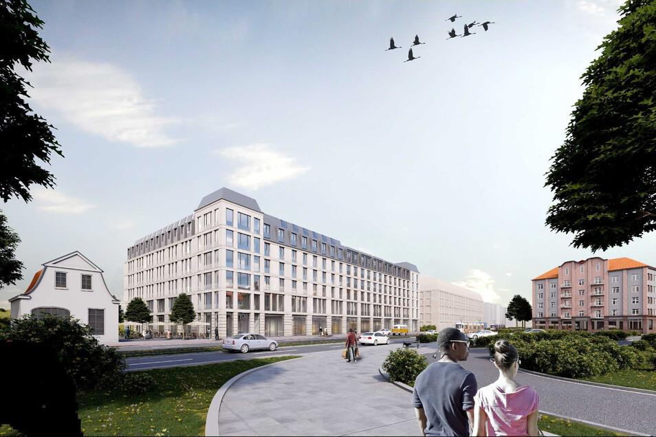 So wird der Hotelneubau an der Großenhainer Straße nahe dem Bahnhof Neustadt aussehen.